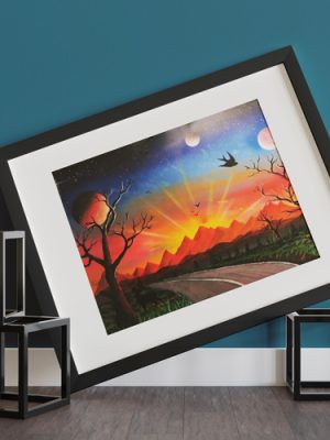 Strada Per Il Tramonto- Strada che pora verso il tramonto, con montagne, sole che tramonta, pianeti ed alberi- Wolf Art