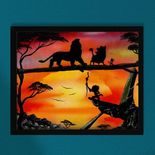 Il Re Leone- Personaggi del re leone che camminano al tramonto- Wolf Art