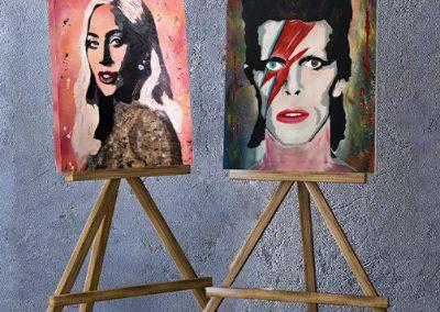 Ritratto in stile Pop Art di Lady Gaga e David Bowie