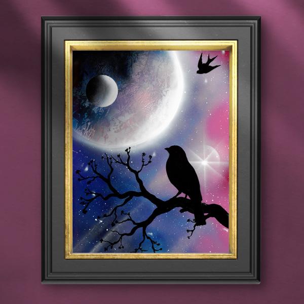 Quadro. Ambientazione notturna di merlo su tronco che guarda la luna. Wolf Art