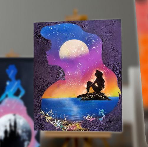 La Sirenetta- Tela di Ariel con scoglio e immagine serale- Spray Art