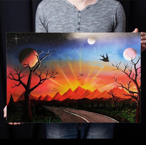 Strada Per Il Tramonto-STrada che si dirige verso il tramonto, con sole, pianeti e alberi- Wolf Art