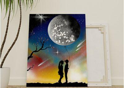 Ti Regalo La Luna- Coppia di fidanzati che tengono la Luna come fosse palloncino- Wolf Art