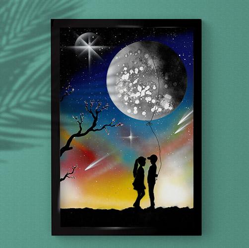 Ti regalo la luna- Coppia di fidanzati con luna e stelle con sfondo giallo, azzurro e rosso- Wolf Art