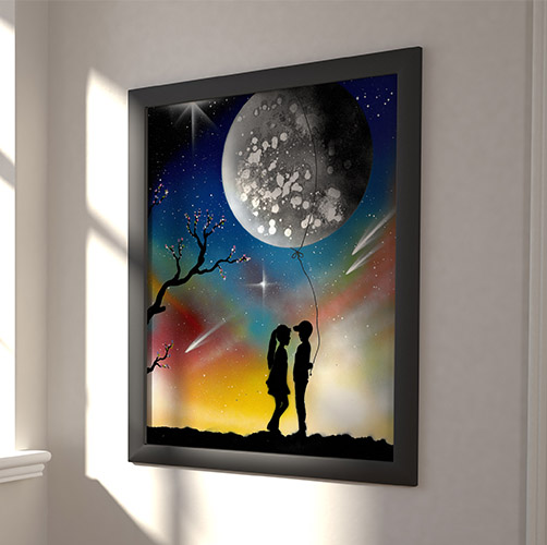 Ti Regalo La Luna- Dipinto di ragazzo cge regala la luna alla ragazza- Spray Art