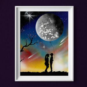 Ti regalo la luna- fidanzatini con luna e stelle, cielo colorato- Wolf Art