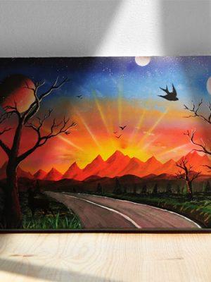 Strada Per Il Tramonto- Sentiero che si dirige verso il tramonto con monti, sole e pianeti- Wolf Art