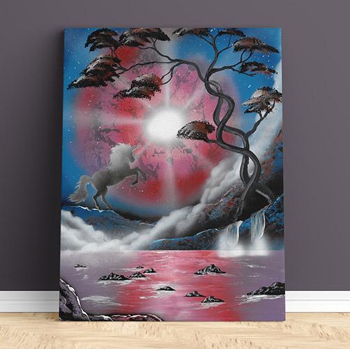 Il mondo degli unicorni- Spray Art Paint- Unicorno in ambiente notturno, con lago, albero- Wolf Art